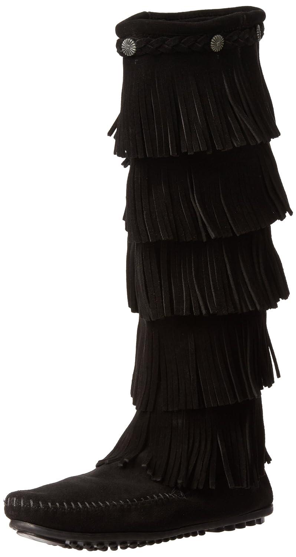 Minnetonka Women's Layer Fringe Boot B0027A7UDG 5 B(M) US|Black