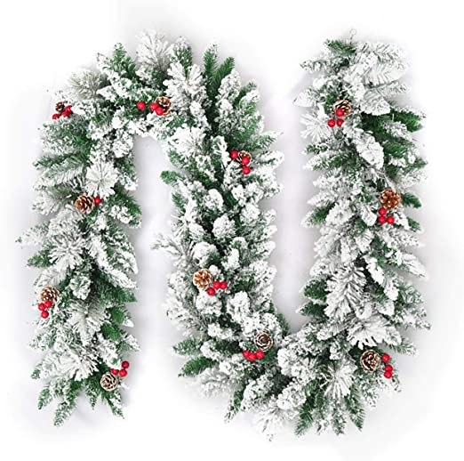 Amazon Com Uheng 16ft White Christmas Garland Decorations With Pine Cones And Red Berries Front Door Snow Wreaths Artificial Hanging Room Wall Ornaments Home Kitchen