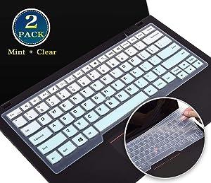2 Pack Lenovo Thinkpad Keyboard Cover for Thinkpad x1 Yoga 3rd Gen 2019, 14 Inch Thinkpad x1 Carbon 7th/6th 2020-2017, Thinkpad T490 T490s T480 A475 L460 L470 T460 T460p T460s T470(Mint+Clear)