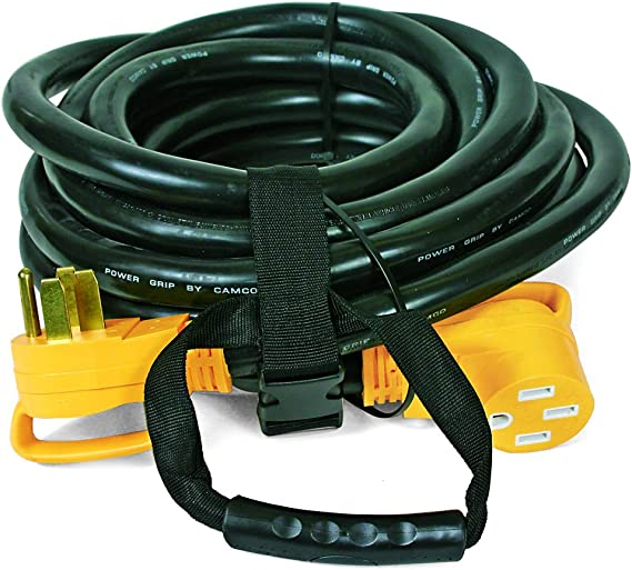 Camco 30' PowerGrip Heavy-Duty Outdoor 50-Amp Extension Cord for RV and Auto | Allows for Additional Length to Reach Distant Power Outlets | Built to Last (55195)