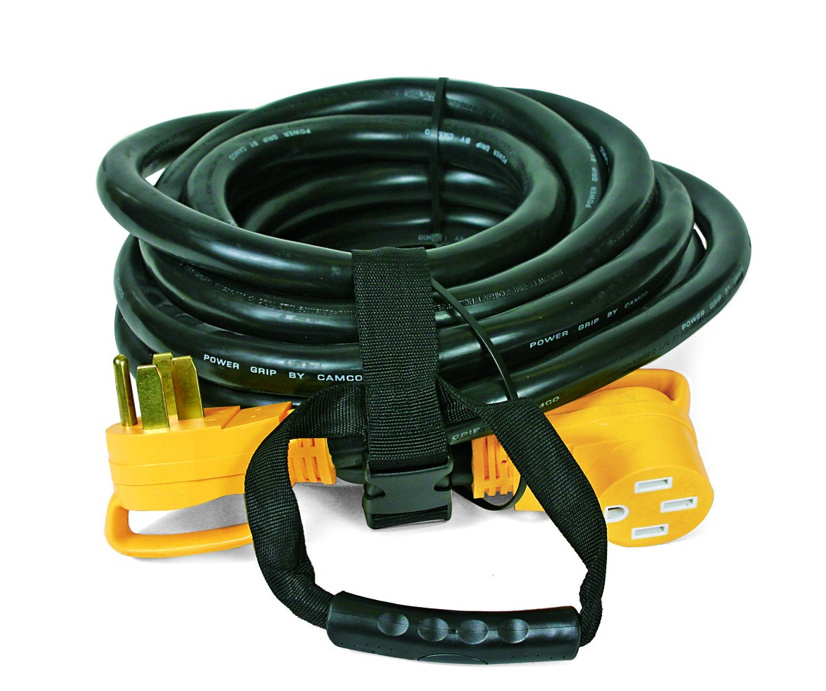 Camco 50 Amp RV Extension Cord with PowerGrip Handle, 6/8-Gauge, Includes Convenient Carrying Strap - 30ft