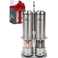 Battery Operated Salt and Pepper Grinder Set - Electric Stainless Steel Salt&Pepper Mills(2) by Flafster Kitchen -Tall Power Shakers with Stand - Ceramic Grinders with lights and Adjustable Coarseness