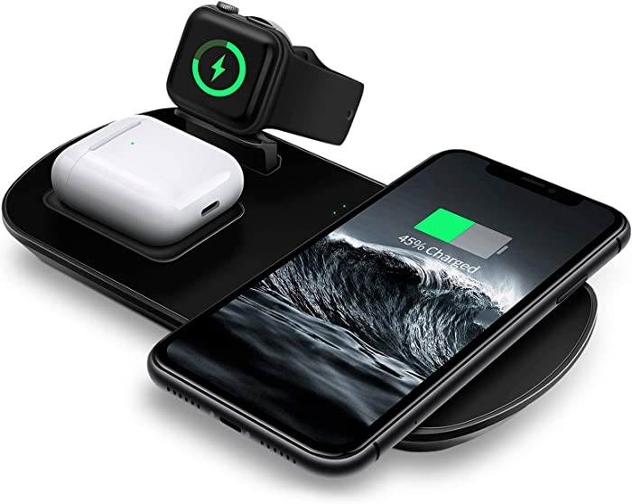 Wireless Charger, 3 in 1 Wireless Charging Pad with Magnetic Charger for Apple Watch 5/4/3/2/1, Fast Charging Station Compatible with iPhone 11/XR/XS/X/8P/8/SE 2020, Samsung S20/Note 10/S9, AirPods