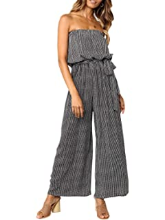 2c99aa24b52 Miessial Women s Sexy Romper Off Shoulder Jumpsuit Casual Strapless Wide  Leg Pants Jumpsuit