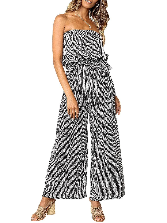 d1019c1d1941 Amazon.com: Miessial Women's Sexy Romper Off Shoulder Jumpsuit Casual Strapless  Wide Leg Pants Jumpsuit: Clothing