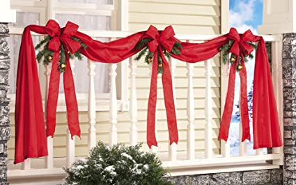 Outdoor Christmas Ribbon.Collections Etc Christmas Ribbon Bows Fence Decoration