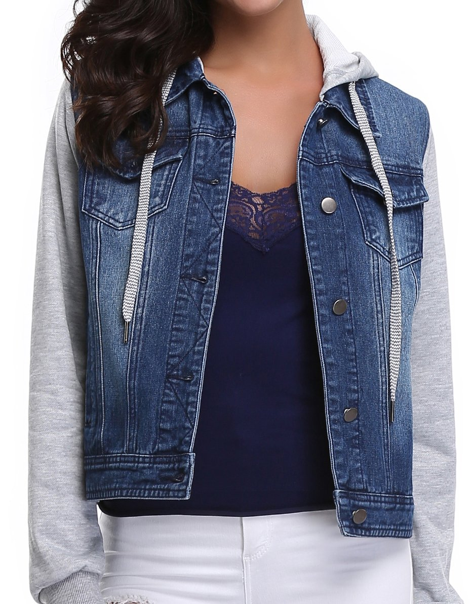 MISS MOLY Women's Washed Rolled Long Sleeve Point Collar Denim Jacket w 2 Chest Flap Packets,XS