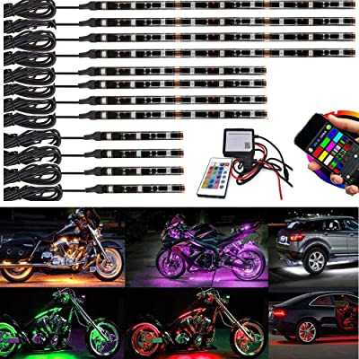 12Pcs Bluetooth Motorcycle LED Light Kit Strips Multi-Color Accent Glow Neon Lights Motorcycle Cellphone app waterproof Bluetooth Controller with RF remote led motorcycle atv lights Music Sync: Automotive