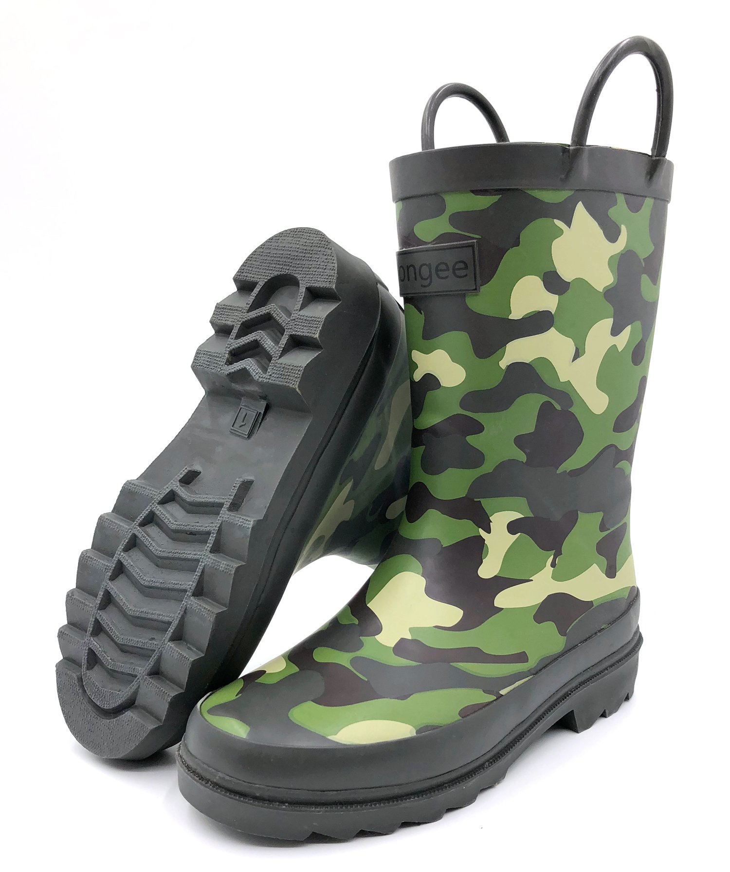 Rongee Camouflage Toddler Little Boys Girls Kids Rubber Rain Boots with Handles and Oxford Bag Packed (7M US Toddler)
