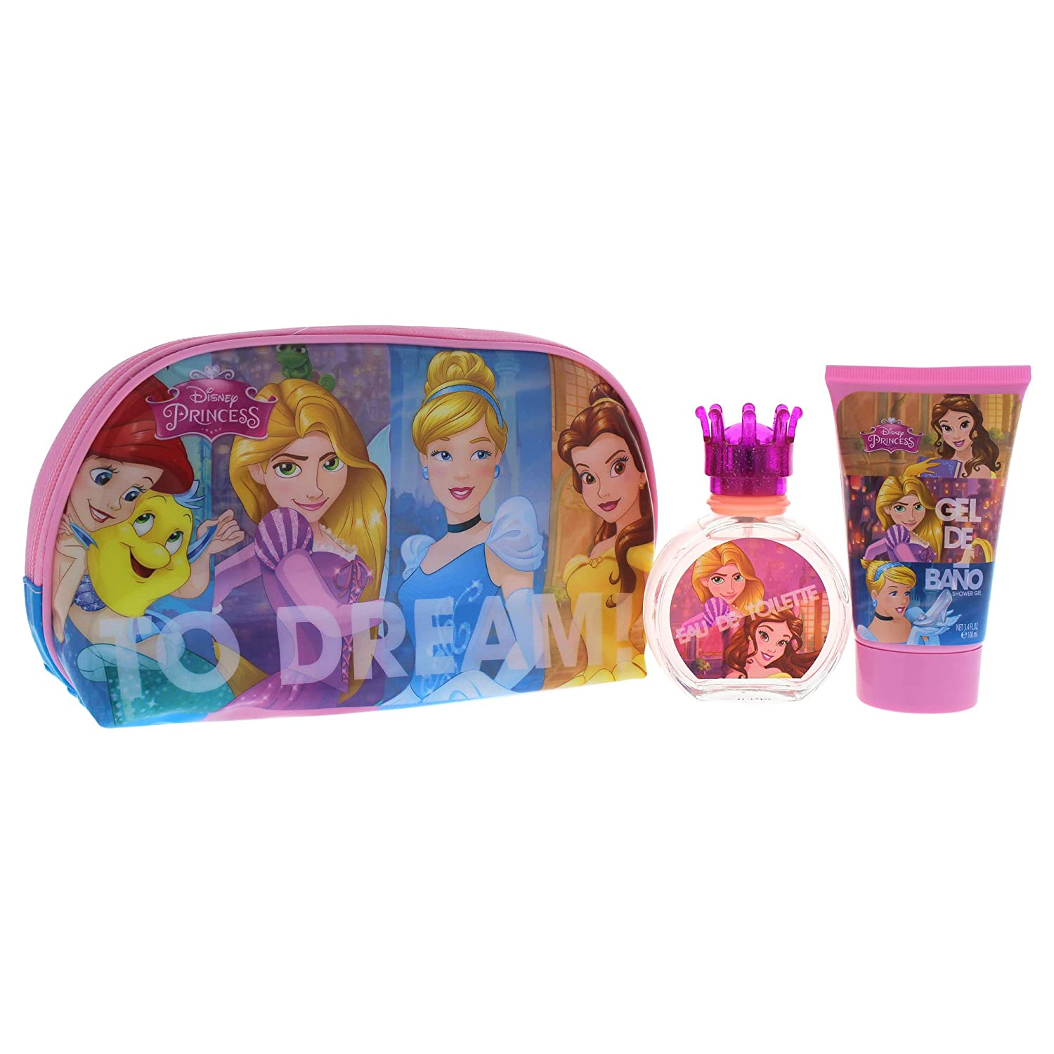 Disney princess for kids - 3 piece gift set 1.7oz edt spray, 3.4oz shower gel, toiletry bag 6022