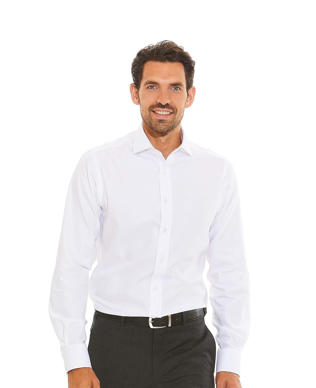 Savile Row Company Mens White Twill Slim Fit Non-Iron Shirt Single Cuff