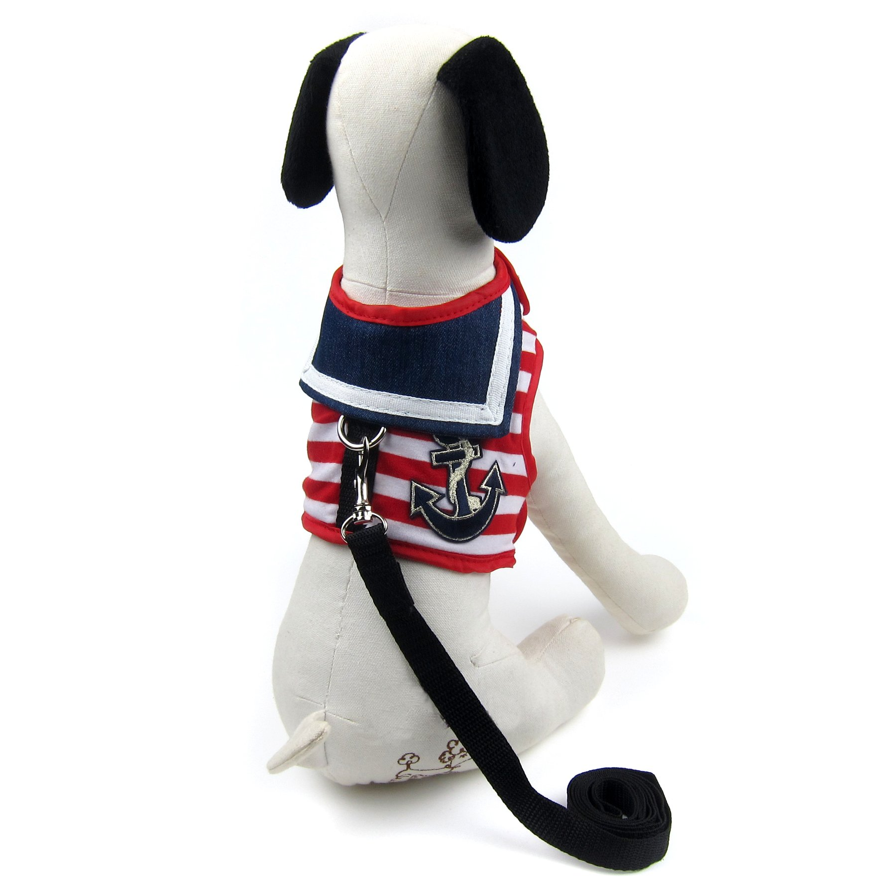 Alfie Pet by Petoga Couture - Dustin Sailor Harness and Leash Set - Color: Red Stripe, Size: Large