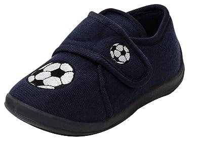 40e07cb0c52ff1 Jungen Kinder Fleece Hausschuhe blau Fussball Klett Puschen Slipper Schuhe  mit Klettverschluss Gr. 26