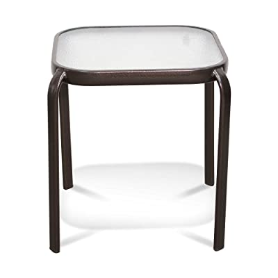 Never Rust Aluminum and Glass Outdoor End Table in Bronze: Kitchen & Dining
