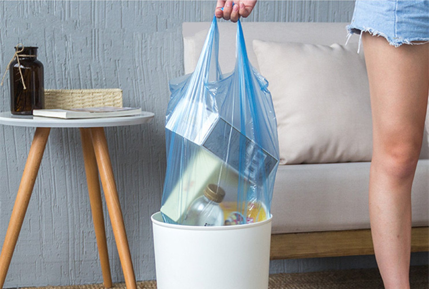 Trash Bags,4 Gallon Handle Tie Small Garbage Bags for Office Kitchen,Bedroom Waste Bin,Colorful Portable Strong Rubbish Bags,Wastebasket Bags,5 Rolls//100 Counts