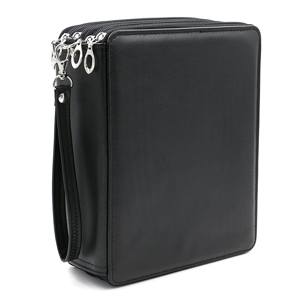 BTSKY 168 Slots Colored Pencil Organizer - Deluxe PU Leather Pencil Case Holder (Black)
