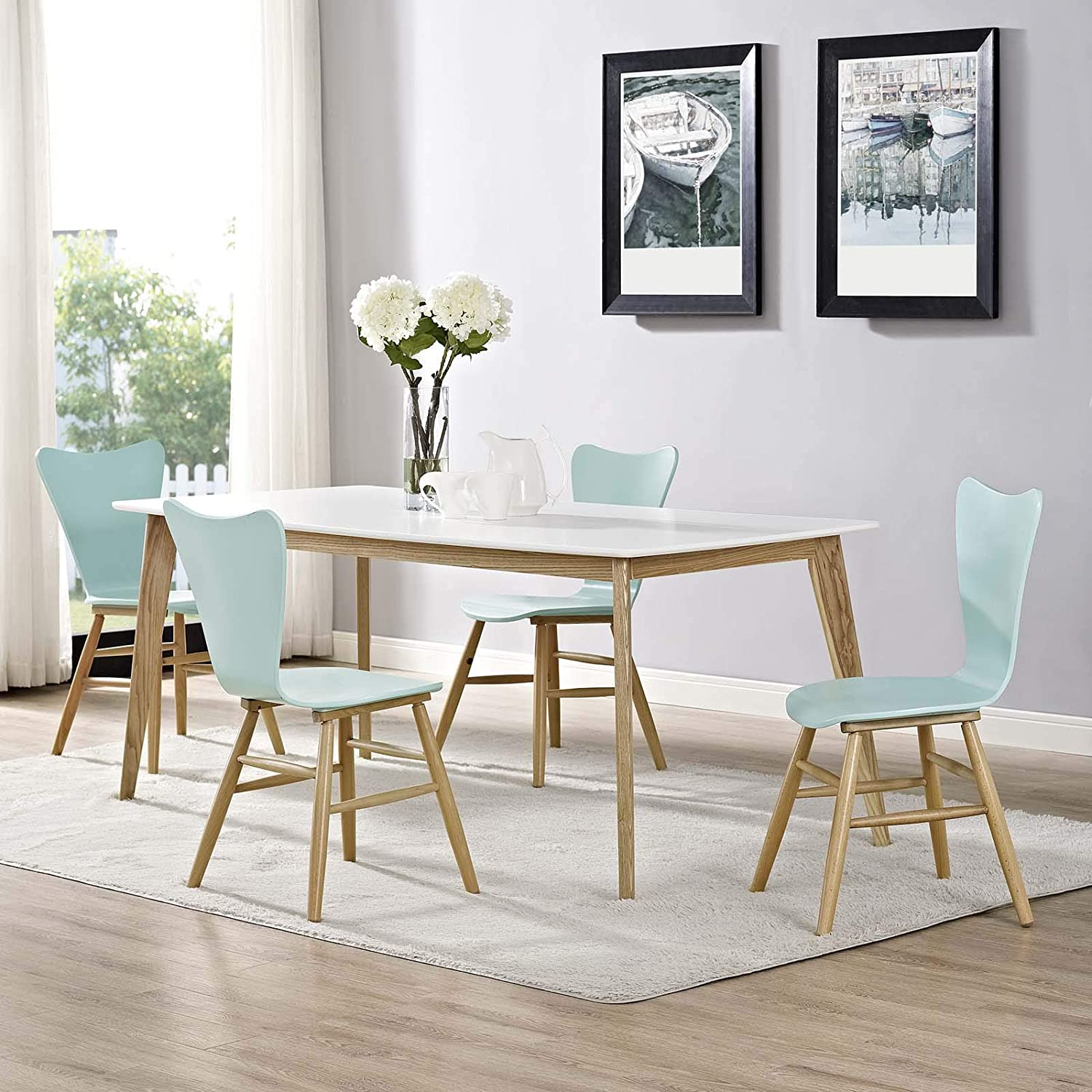 Modway Cascade Mid-Century Modern Wood Four Kitchen and Dining Room Chairs in Light Blue