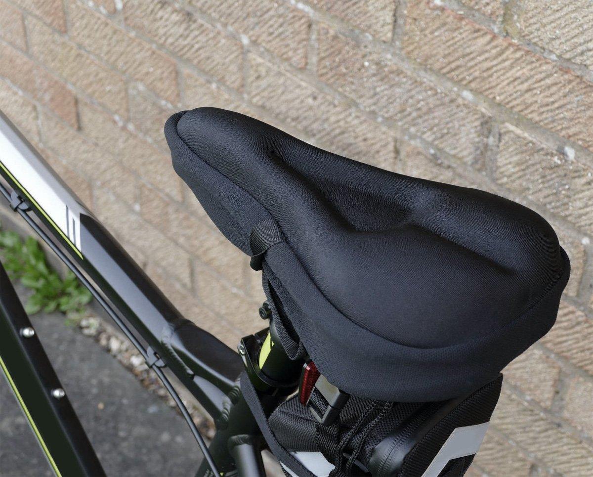 zacro Sill/ín Bicicleta,Asiento de Bicicleta Gel,Sill/ín Coj/ín Suave para Bicicleta,con Funda Resistente al Polvo y Impermeable para Bicicleta de Carretera,de monta/ña y de Urbana-Negro
