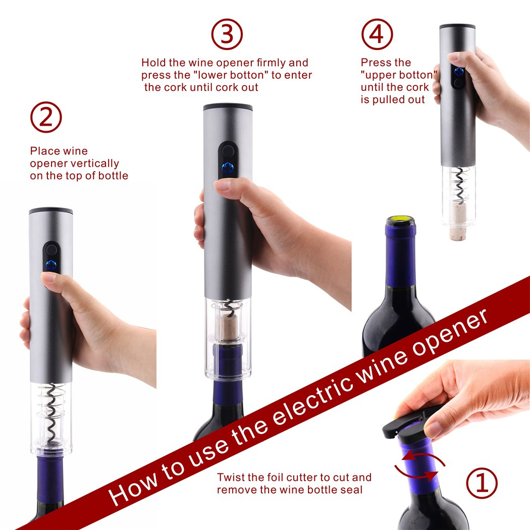 Electric Wine Bottle Opener Set with Rechargeable Battery, Vacuum Stopper, Foil Cutter, Wine Pourer By Wonpurs by Wonpurs (Image #3)