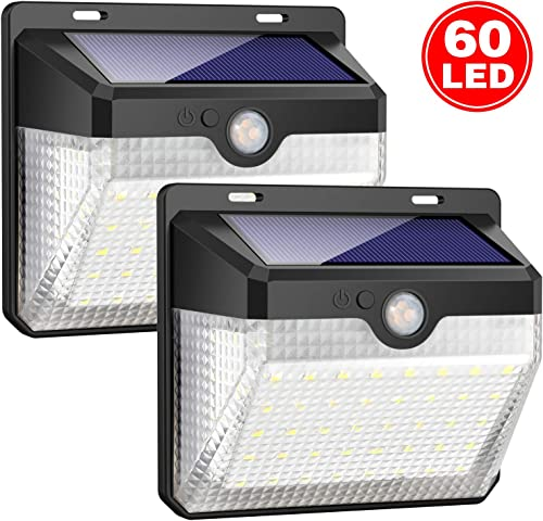 Solar Lights Outdoor 60 LEDs , Gixvdcu Solar Powered Motion Sensor Lights Waterproof Security Wireless Wall Lights with 270 Wide Angle for Outdoor, Garden, Patio Yard, Deck Garage, Fence 2 Pack