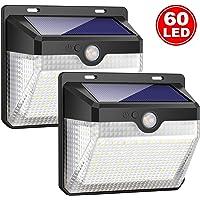 iPosible Luz Solar Jardín, Upgraded 60 LED 2000 mAh Foco Solar con Sensor Movimiento 180º Gran Angular de Iluminación 270º Lámpara Solar Exteriors Impermeable 3 Modos para Patio, Garaje[2 Paquete]