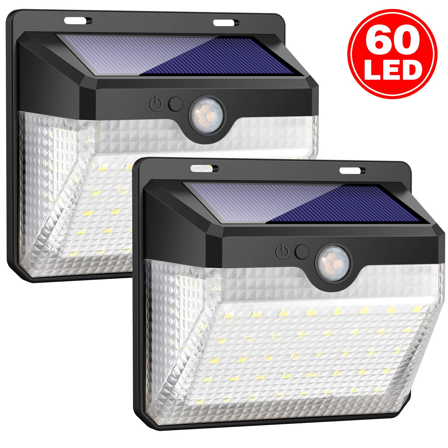 Solar Lights Outdoor [60 LEDs], Gixvdcu Solar Powered Motion Sensor Lights Waterproof Security Wireless Wall Lights with 270° Wide Angle for Outdoor, Garden, Patio Yard, Deck Garage, Fence (2 Pack)