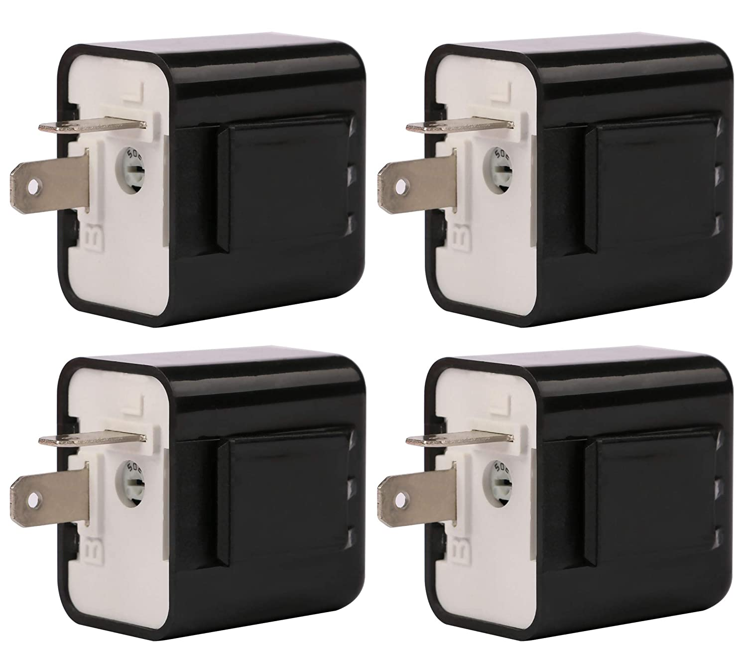 Motorcycle Flasher Relay, Sdootauto 12V 2-Pin Turn Signal LED Flasher Relay Hyper Indicator Flash, Adjustable Flasher Relay (Black pack of 4)