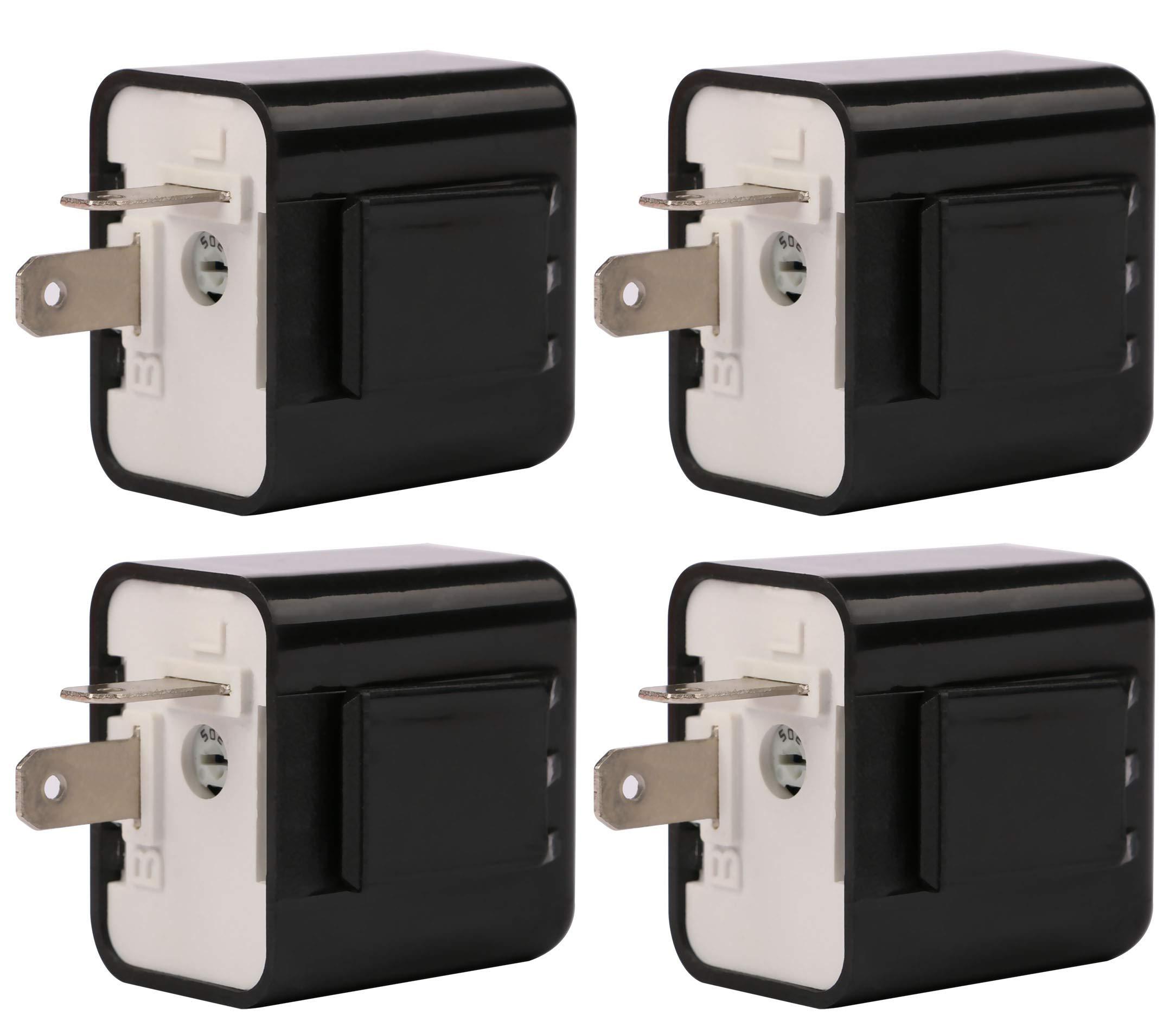 Sdootauto 4 Pcs 12V 2-Pin Motorcycle Adjustable Flasher Turn Signal LED Flasher Relay Hyper Indicator Flash (Black pack of 4)