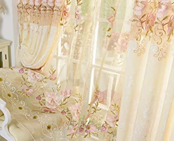 AliFish Home Decor European Sheer Curtains Delicate Patoral Panels Floral Embroidered Rod Pocket Tulle Voile