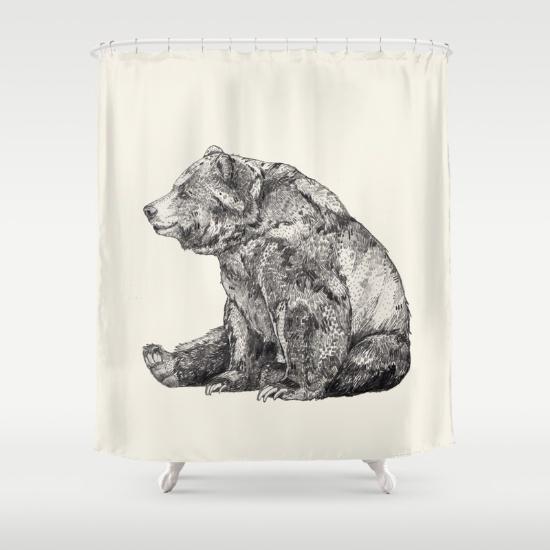 Bear // Graphite Shower Curtain by Sandra Dieckmann | Society6