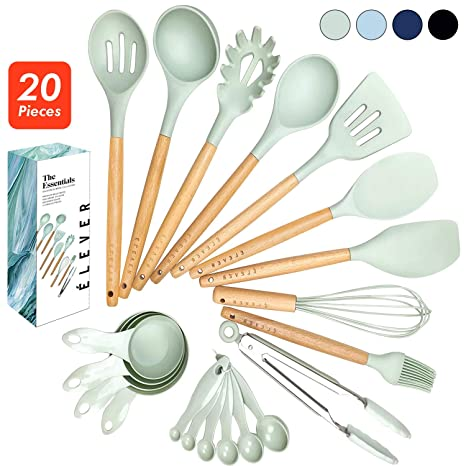 ÉLEVER Kitchen Utensil Set - 20 Cooking Utensils. Kitchen Gadgets for  Nonstick Cookware Set. Kitchen Accessories, Silicone Spatula set, Serving  ...