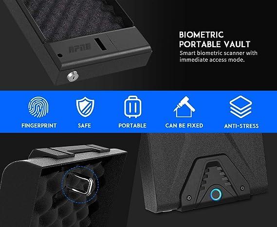 RPNB Gun Safe Finger Print DOJ Certified Smart Pistol Safe Quick Access Black