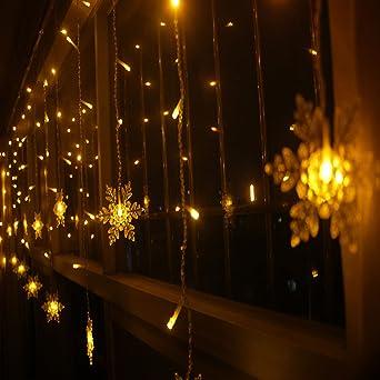 Coosa - Cortina de luces led decorativa en forma de copos de nieve, para interior
