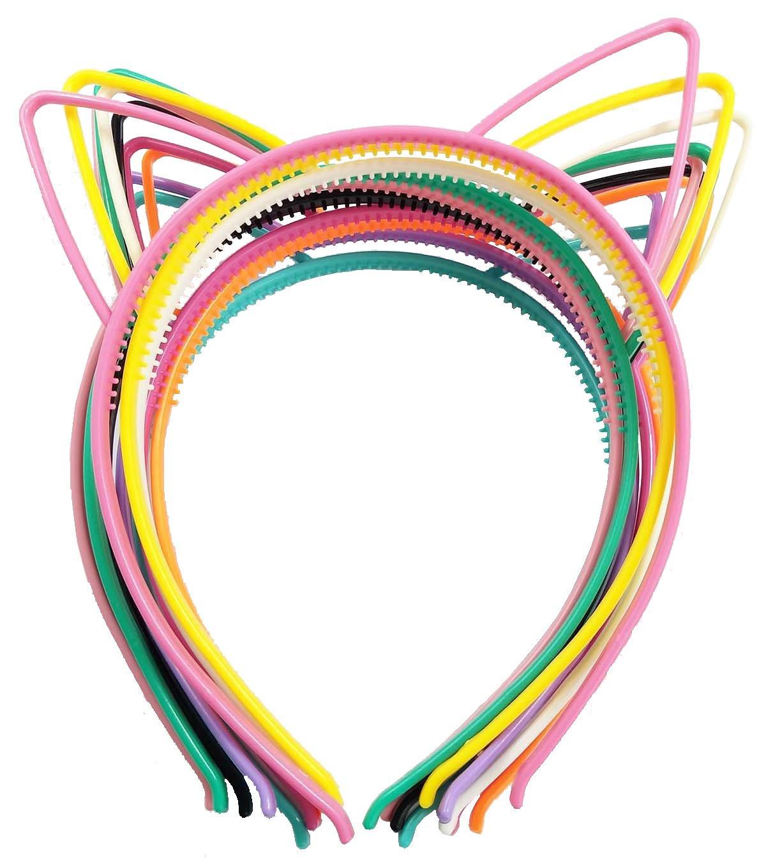 10pcs Diademas gato Orejas Diademas cinta pelo banda de plástico con diseños diferentes de colores para Fiesta joyas Masquerade SuperHandwerk