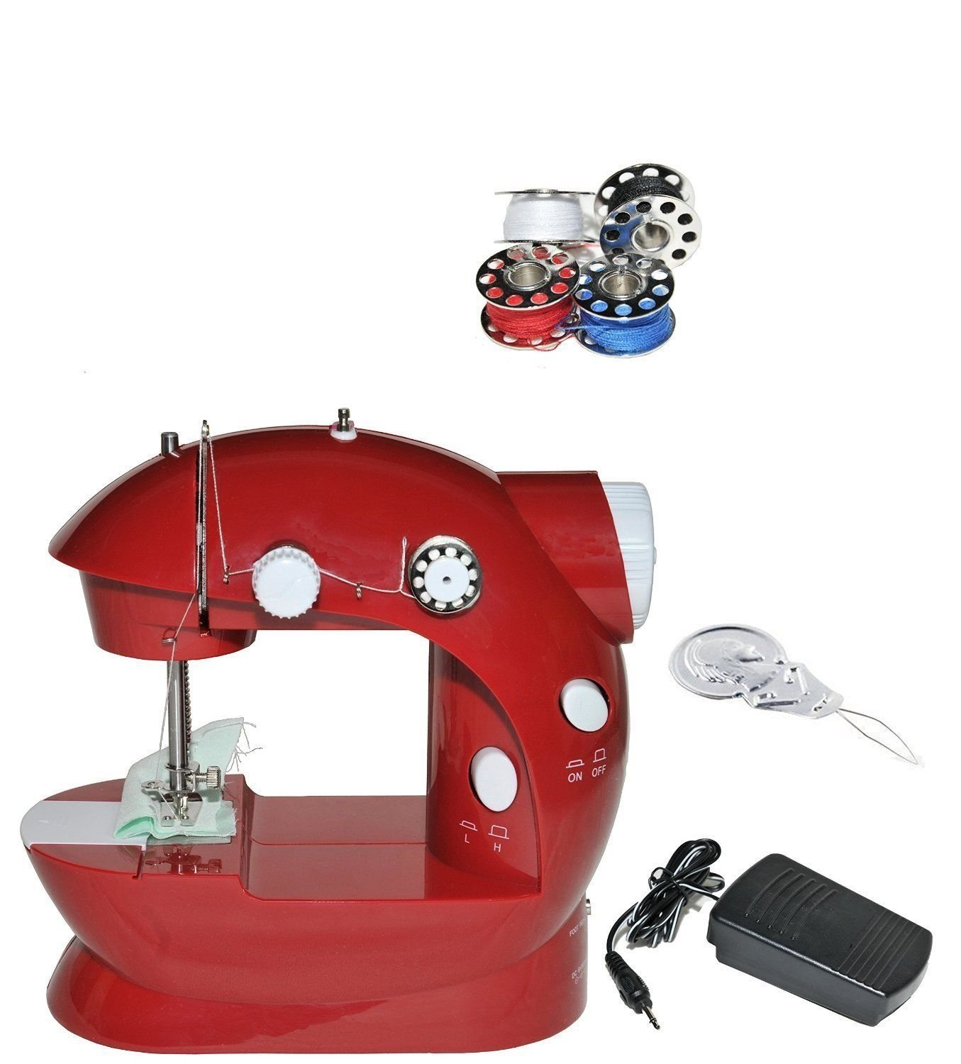 SmartCare SC-08 Mini Cordless Sewing Machine with Pedal Light and Compact, Red