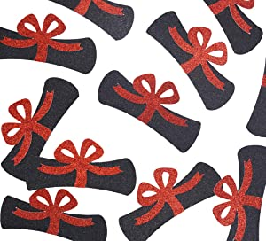 Diploma Confetti, 12pcs 4 inches Graduation Centerpeices Congrats Grad Party Decorations Graduation Table Decor Class of 2020 High School College Graduation Party Supplies (Black & Red Glitter)
