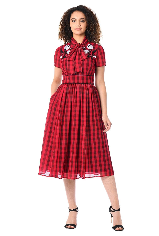 1950s Dresses, 50s Dresses | Swing, Wiggle, Pin Up Dresses eShakti Womens Floral Embellished Check Print Georgette shirtdress $69.95 AT vintagedancer.com