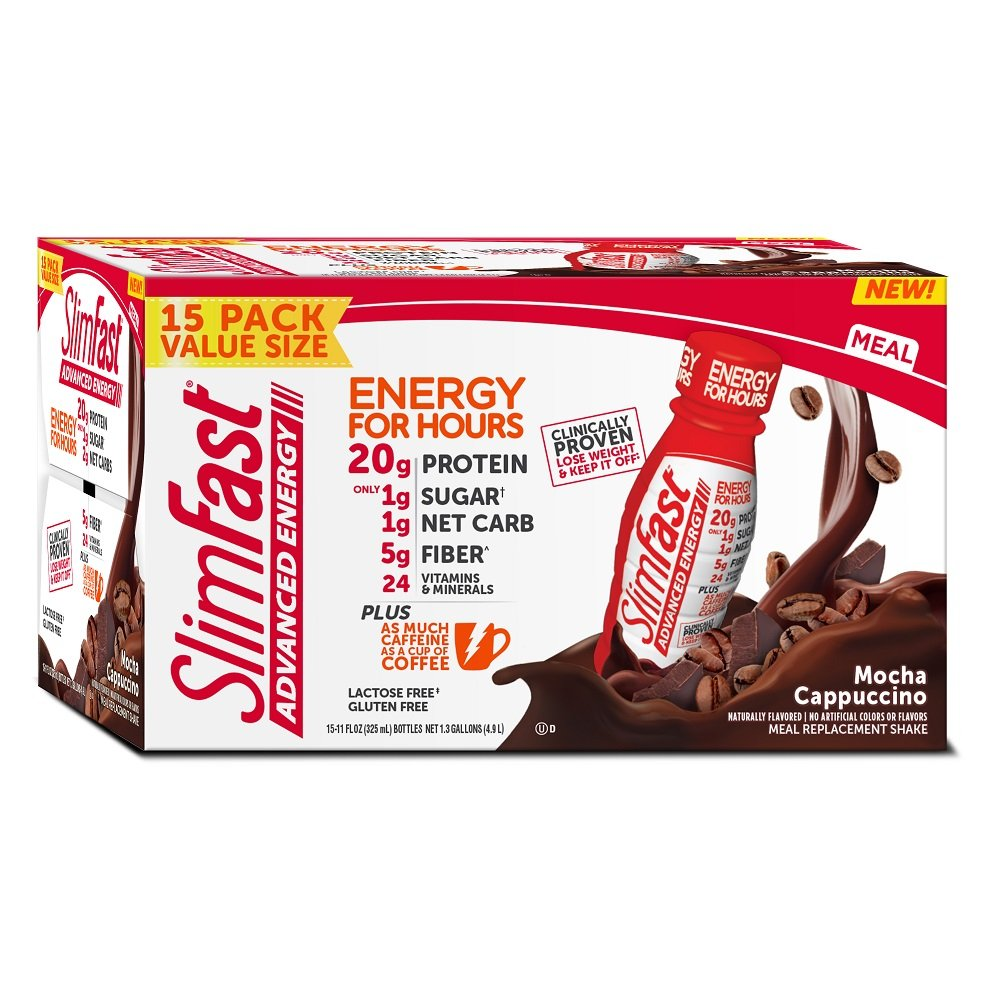 SlimFast Advanced Energy Café, Mocha Cappuccino - Meal Replacement Shake - High Protein, 11oz Bottle - (Pack of 15)