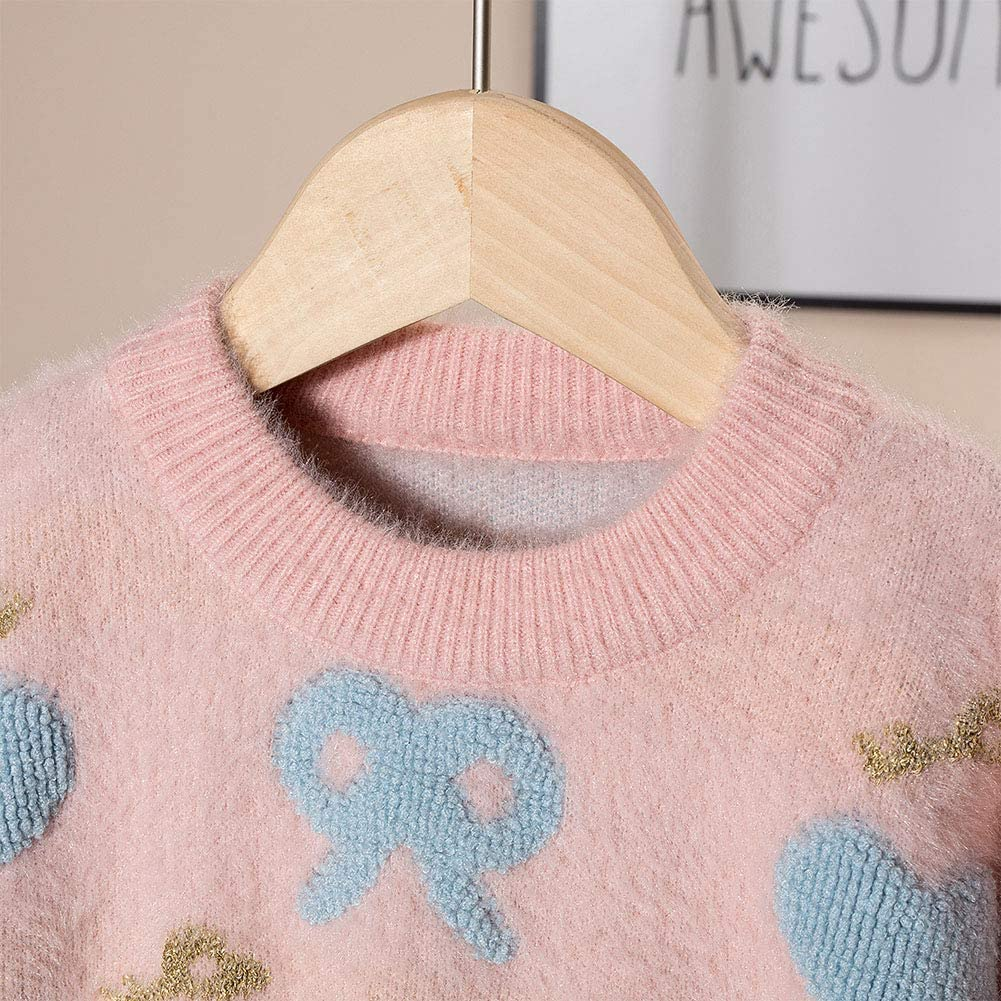 Moonnut Baby Girls Pullover Sweater Winter Tops Flower Pattern Knitwear for Toddler 2-6T