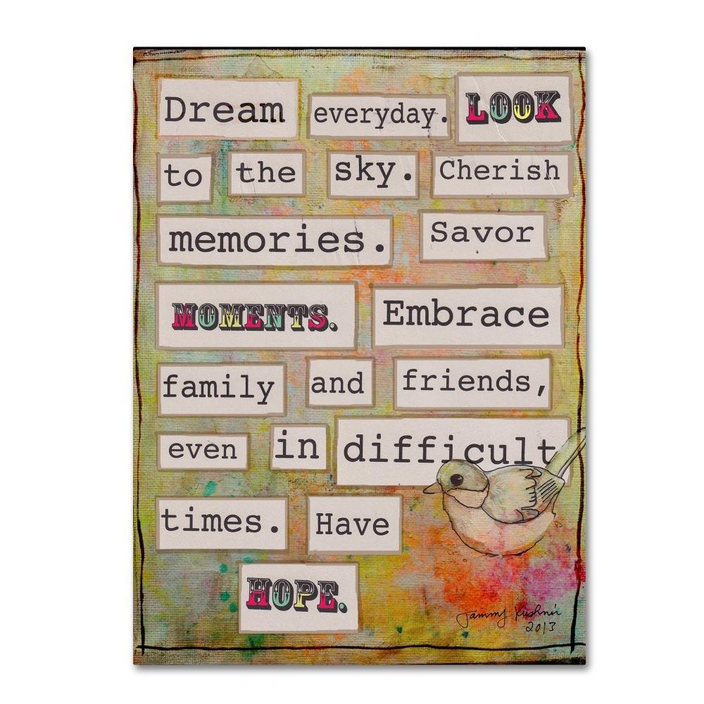 Trademark Fine Art Dream Everyday by Tammy Kushnir, 35x47-Inch Canvas Wall Art