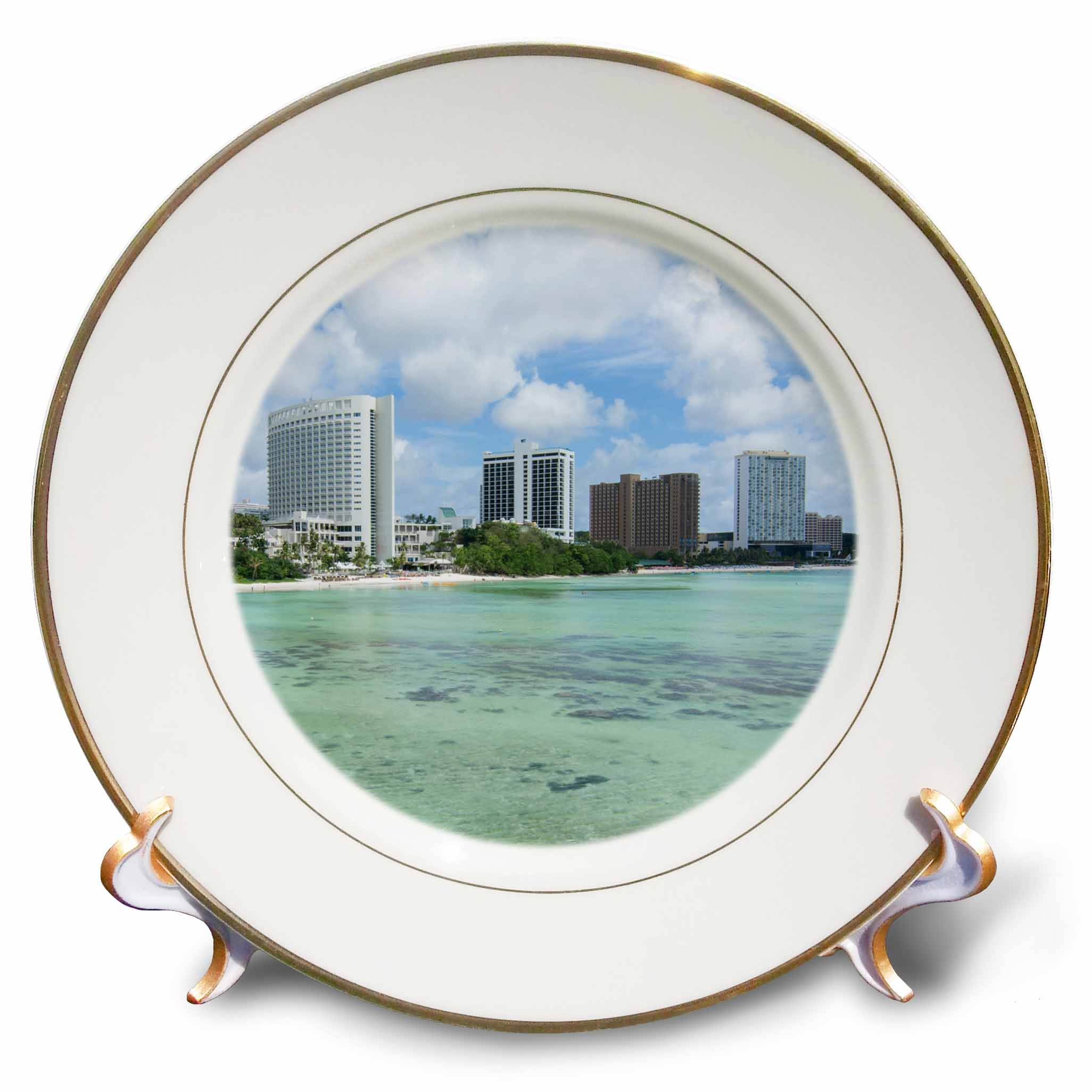 3dRose Danita Delimont - Cities - Guam Territory. Hotels line beach with clear tropical waters. - 8 inch Porcelain Plate (cp_278126_1)