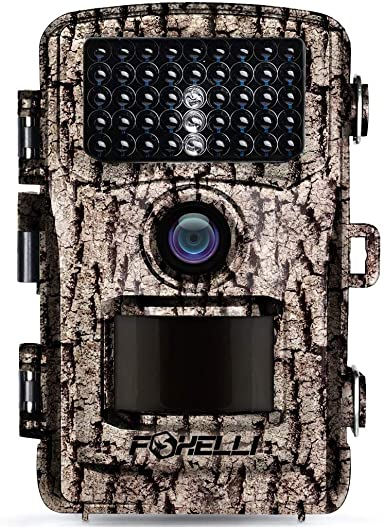 Foxelli Trail Camera 14MP 1080P Full HD Wildlife Scouting Hunting Camera with Motion Activated Night Vision, 120 Wide Angle Lens, 42 IR LEDs and 2.4 LCD Screen, IP66 Waterproof Game Camera