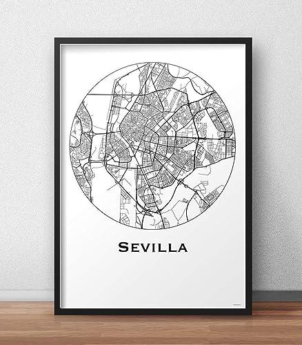 Plakat Sevilla Spanien Minimalist Map - Poster, City Map ...