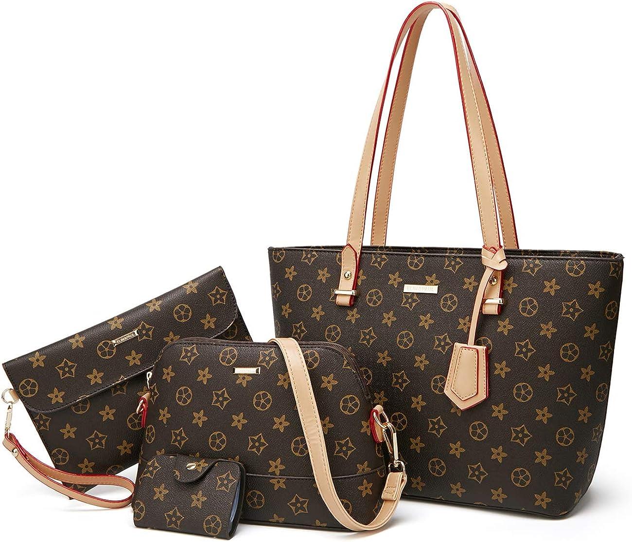 Checkered Handbags for Women Shoulder Bags Tote Satchel Hobo 4pcs Purse Set s for Women Purses Fashion Tote Bags 4pcs