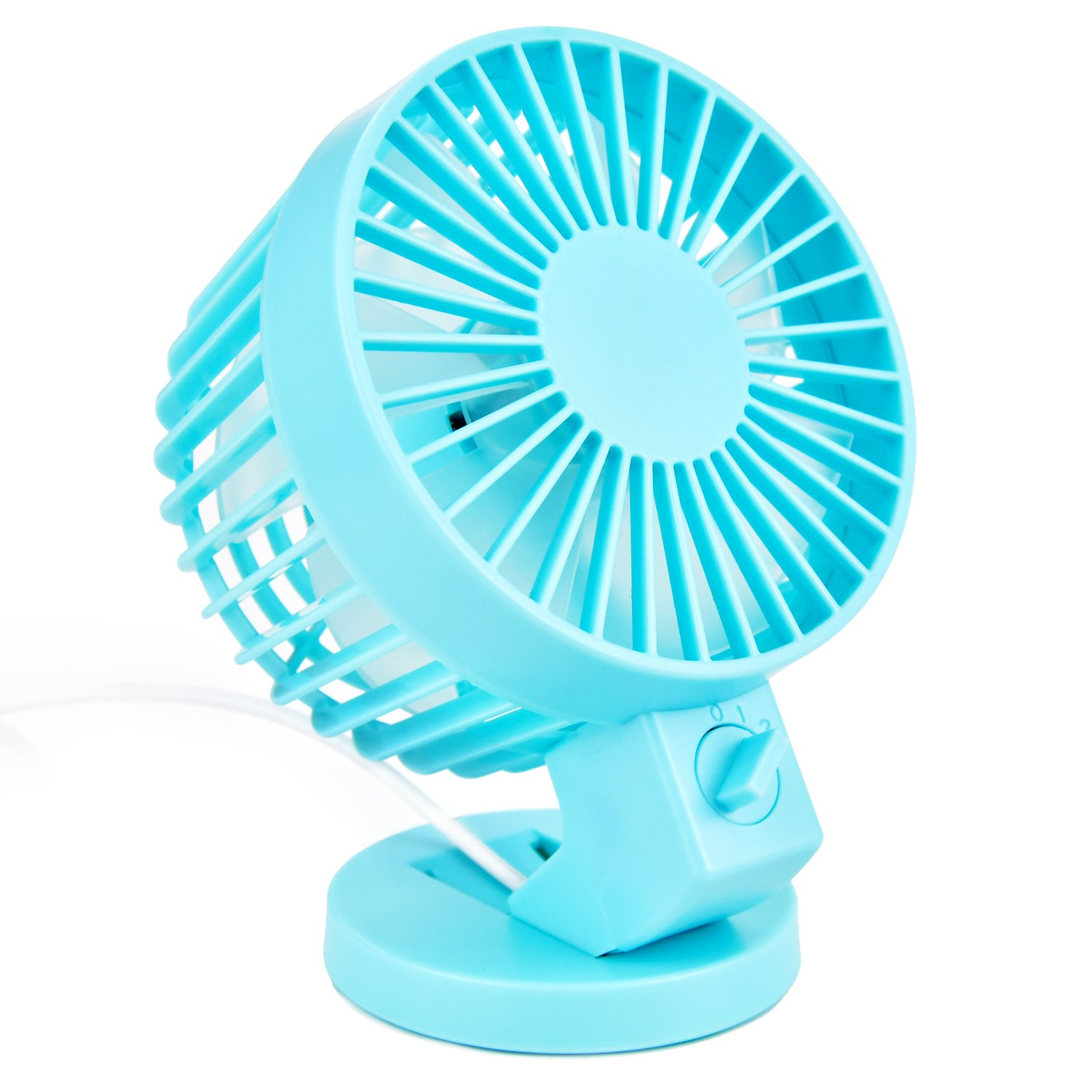 Votones Office Electric Usb Fan, Portable Cooling Fan with 2 Grade Wind Power,Handled Mini USB Clip Desk Fan Compatible for Notebook,Computer and Power Bank(Blue)