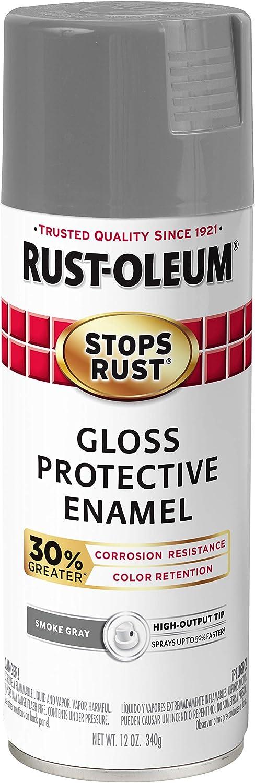 Rust-Oleum 3389246-PK Stops Rust Advanced Spray Paint, 6 Pack, Gloss Smoke Gray