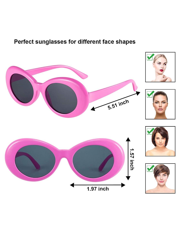 Gejoy Clout Oval Brille Retro Kurt Mod Dicken Rahmen Runde Linse Sonnenbrille Brille Mehrfarbig für Damen Männer