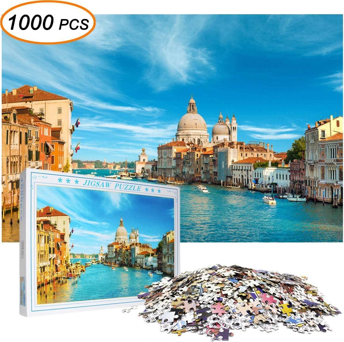 BAODANstore Jigsaw Puzzles for Adults Kids 1000 Pieces Big Ben London Bridge; 1059 Venice; Big Ben