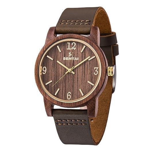 Madera de nogal reloj de pulsera Sentai relojes de correa de piel hecho a mano ligero ...