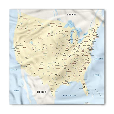 Map Of America With Cities.Amazon Com Map Bandana America Cities Interstate Unisex Head And